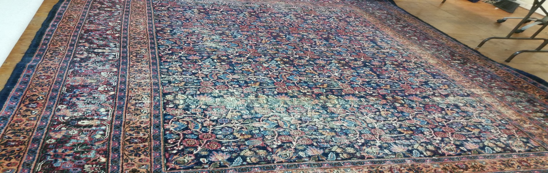 oriental rug before repair banner